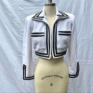 VINTAGE 1990s Sgt Peppers White Cropped Jacket